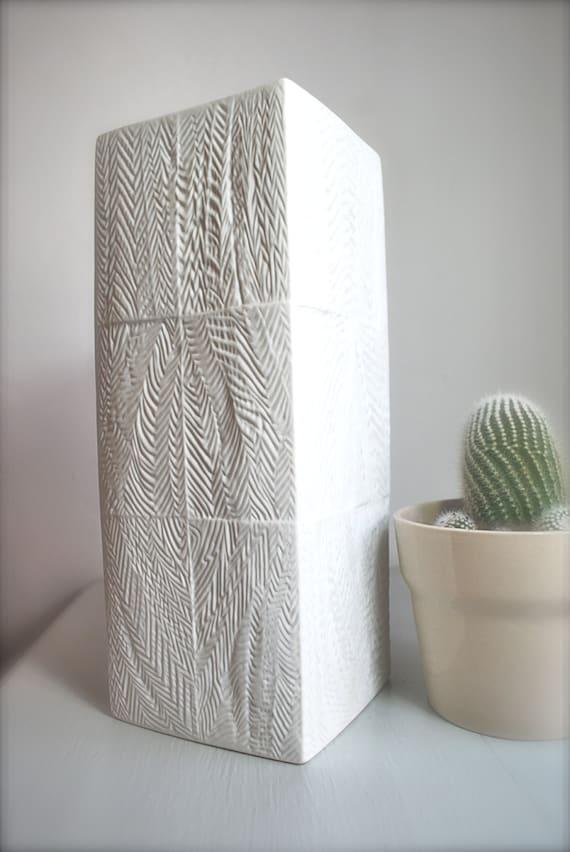 Mid Century Matte White Tribal Abstract Geometric Porcelain Vase Martin Freyer for Rosenthal
