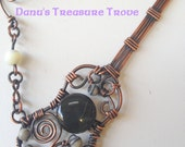Copper Wire Wrapped Guitar with Rainbow Obsidian, Black Silk Marbles, Mother of Pearl
