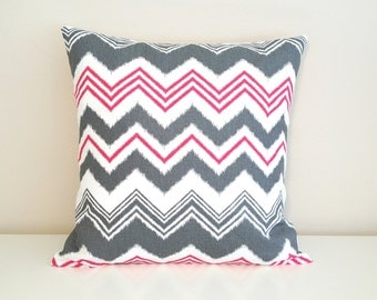CLEARANCE 70% OFF Flamingo Pink Zig Zag Throw Pillow Cover. 16X16 Inches. Pink, Gray and White Flamingo . Decorative Pillow Slipcover.