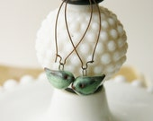 Little Bird Ceramic Earrings - Rustic Aqua Mist - Extra Long French Copper Earwires - READY TO SHIP