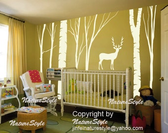 Decal Nursery wall decal trees baby wall decal vinyl wall decal large wall decal nursery bedroom decal -Winter Trees with Deer