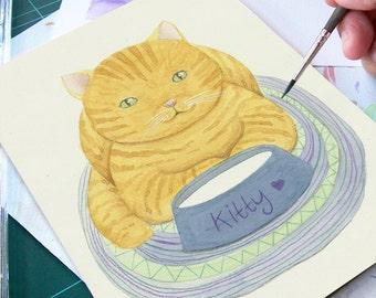 ON SALE 50% Discount, Cat on a Mat  - Watercolor Painting, Original  Art, Nursery Wall Art, Children's Room Decor, Children's Illustration