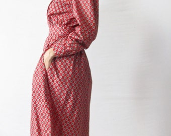 Vintage Dress. 1970s Patterned Cotton Shirtdress. Size Medium