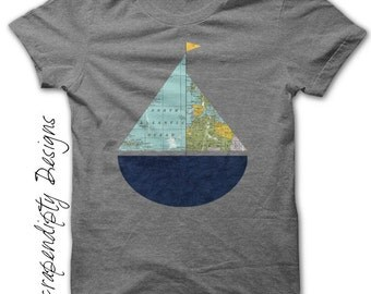 Sailboat Iron on Shirt - Kids Iron on Transfer / Sail Boat Nursery Decor / Sailboat Shirt / Kids Toddler Clothing Tshirt / Digital IT73-R