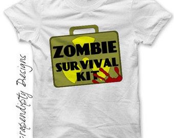 Iron on Zombie Shirt - Apocalypse Iron on Transfer / Kids Boys Clothing / Zombie Survival Kit / Men Funny Tshirt / Apocalyspe Clothes IT67-C
