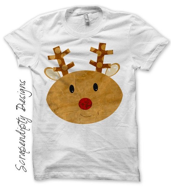 Reindeer Iron on Transfer - Christmas Iron on Shirt / Christmas Tshirt / Kids Clothing Tops / Iron on Patch / DIY Cute Kid Clothes IT143-P