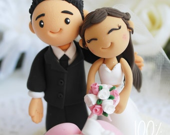 Custom Cake Topper- Lovely couple with a big heart banner