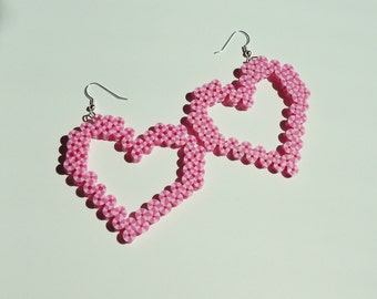 Kawaii Pink Candy Stripe Heart Earrings