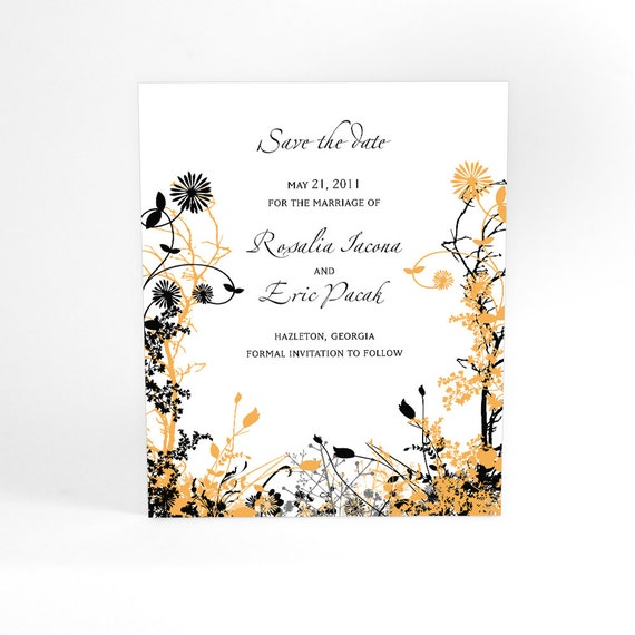 Spring and Summer Wedding Save the Date Cards with Winding Floral Design, Tangled Vines, Garden Wedding, You Choose Your Color Accent