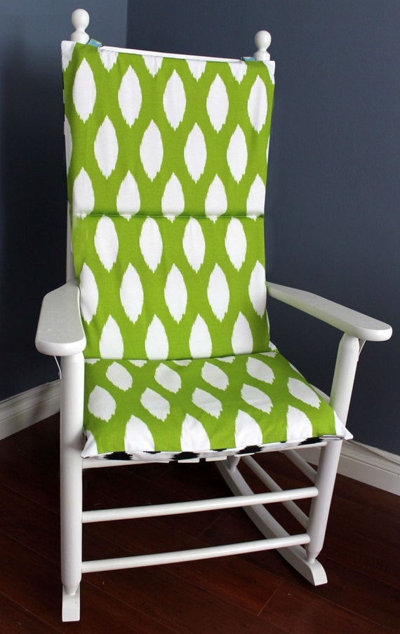 Rocking Chair Cushion Ikat Black Green White By RockinCushions