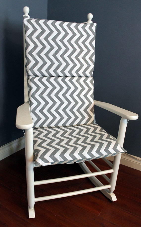 Rocking Chair Cushion Grey Blue Chevron