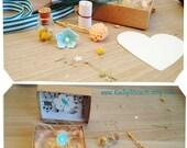 Apricot Love Secret Message Box Flower Bobby Pin Flower Bottle Custom Personal Card Mother's Day Birthday Wedding Love Friendship