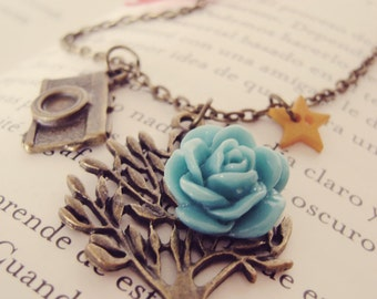 Vintage tree necklace Camera Photography Nature jewelry Star Bow Tree Flower Women gift Blue Yellow Red