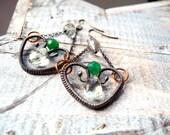 Spring Silver Earrings - Heart Love Earrings - Green Amethyst Onyx - Emerald Green - Sterling Silver and Copper Earrings - Romantic Unique