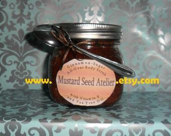 Body Scrub 8oz.- Sugar scrub - Cinnamon with Vitamin E & Tea Tree Oil