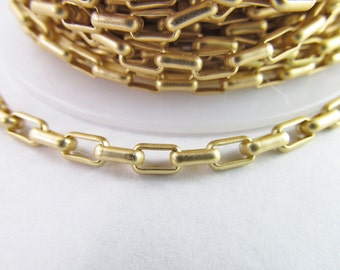 5x3mm Matte Gold-Plated Rectangle Brass Rolo Chain Ch168