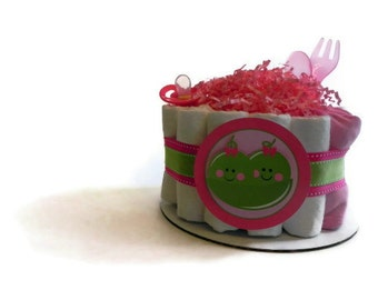 Twin Peas in a Pod Diaper Cake - One Tier baby shower gift decoration centerpiece green pink blue bow tie