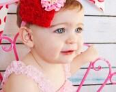 Heart Headband-Valentines Day Headband Baby/Newborn Headband / Toddler Red Pink Heart Girls Headband