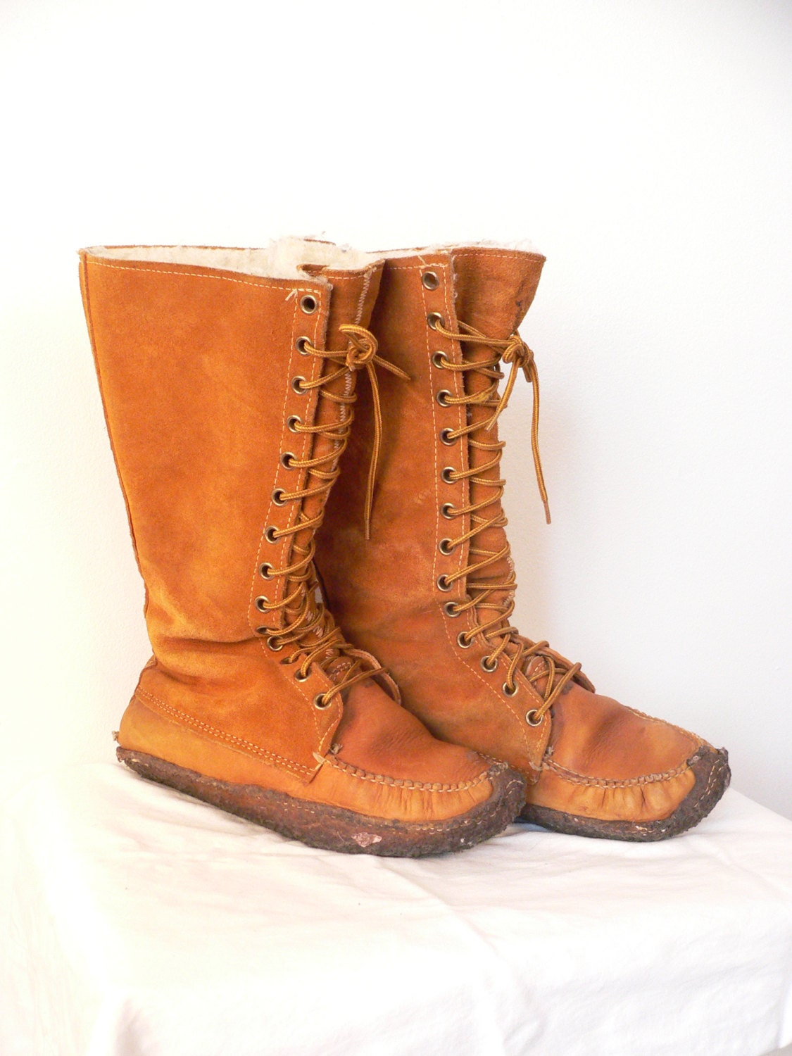 1970s rust suede mukluk moccasin boots by