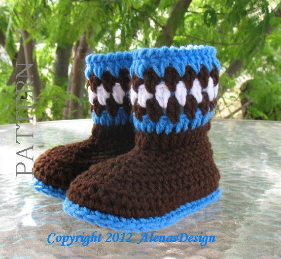 Crochet Pattern 052 - Toddler Booties - Boys Girls Toddler Winter Booties Slippers Brown Boots Ear Flap Hat Bear Ears Mittens