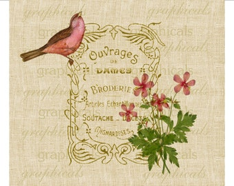 French book cover Pink bird Flower instant graphic Digital download image transfer for iron on fabric Decoupage papercraft pillows No. 1832