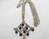 Citrine and Garnet Chandelier Necklace - Sterling Silver - Triple Strand Silver Chain - Vintage