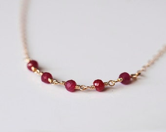 Red Ruby Necklace, Dainty Gold Necklace, Red Ruby Gold Necklace, July Birthstone, Red stone jewelry, Romantic Jewelry, Minimalist