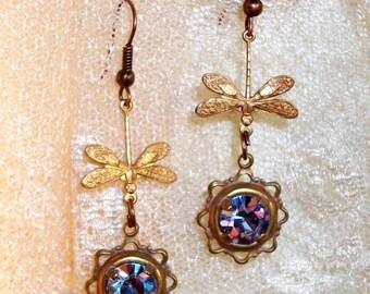 "Lavender RHINESTONE & DRAGONFLY Earrings, Handmade w/Vintage Glass Rhinestones, Detailed Stampings - ""Lights on the Lagoon"" - SALE!!"