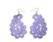 Lace Earrings Hand Painted - Flower Lavender Purple - Customizable Colors