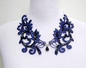 Lace Necklace Bib in Navy Blue and Black