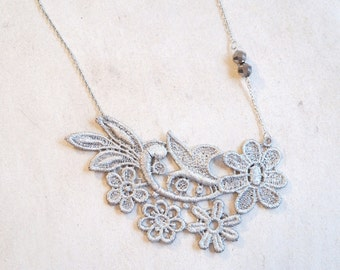 Silver Lace Statement Necklace