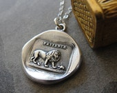 Lion and Mouse Wax Seal Necklace - Aesop fable - antique French wax seal charm jewelry