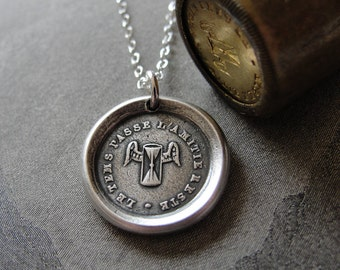Friendship Wax Seal Necklace - antique wax seal jewelry Friends Hourglass motto Time Passes But Friendship Remains by RQP Studio