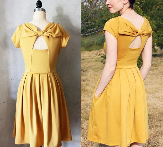 Items similar to final sale holly golightly mustard for Yellow wedding dresses for sale