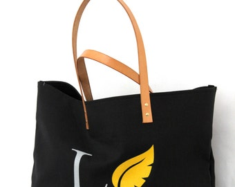 LOVE THY NATURE bag ... Goldenrod and Black Canvas Tote... Personalized Label