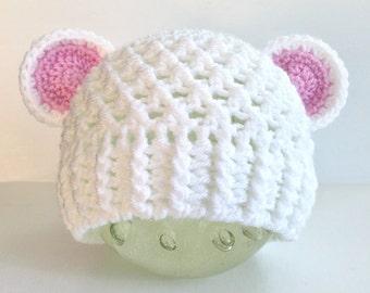 Baby Bear Hat, Baby Girl Beanie, Baby Bear Beanie, Crochet Baby Hat, Baby Boy Beanie, Toddler Beanie, Child Beanie, Toddler Hat