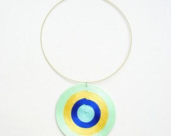 Art necklace, statement necklace, mint blue necklace, colorful necklace, spiral necklace, geometric necklace, yellow blue necklace