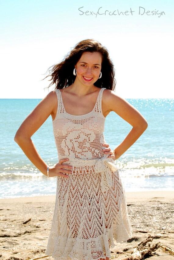 Clearance sale crochet beach dress handmade dress crochet for Crochet wedding dresses for sale