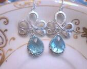 Blue Aquamarine Earrings Silver Tiara Connectors - Bridesmaid Earrings - Bridal Earrings - Wedding Jewelry - Bridesmaid Jewelry Gift