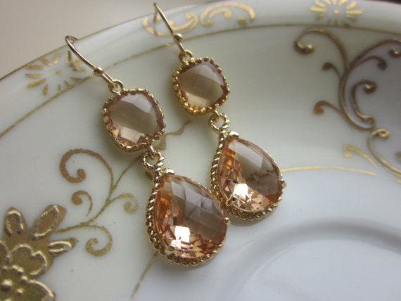 Blush Earrings Gold Earrings Pink Earrings Blush Jewelry Champagne Jewelry Champagne Earrings Bridesmaid Gift Bridesmaid Jewelry Wedding