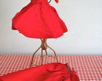 vintage 60s doll dress - BALL GOWN red taffeta evening dress / 2pc