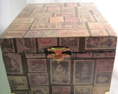 RESERVED FOR SAMANTHA Stamps Wooden Box Stationary Box Mens jewelry box Upcycled Cigar Box