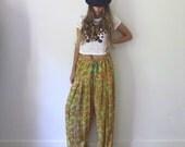 Floral Wide Leg Pants  //  Indian Gypsy Wide Leg Flowy Pants  //  Ethnic Boho Summer Pants  //  One Size