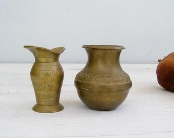 Miniature Brass Vases, Tiny Engraved Pitchers, Antique Brass Barware Decor, Collectible Vintage Kitchen Figurines Asia