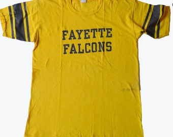 Vintage 80s Fayette Falcons Missouri Yellow T Shirt