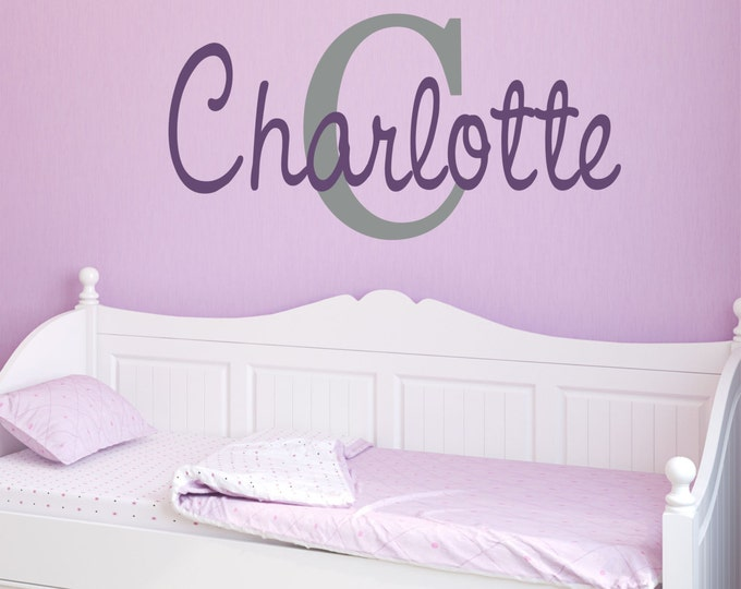 Girls Custom Name Decal // Girls Name Decal // Monogram Wall Decal //
