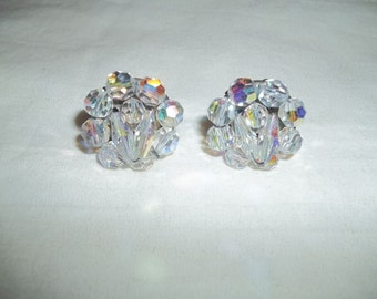 Gorgeous Iridescent Glass Bead Cluster Clip On Earrings