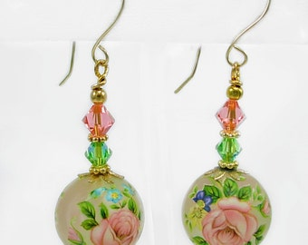 Beautiful Floral Earrings, Gold Fill ,Rose Peach & Green Swarovski, Floral Tensha Beads, under 25 gift 4 her, Shabby chic, handmade earwire