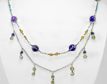 Multi Color Crystal & Sterling Silver 2 Strand Necklace, Ametrine, Blue and Gold Topaz Crystals