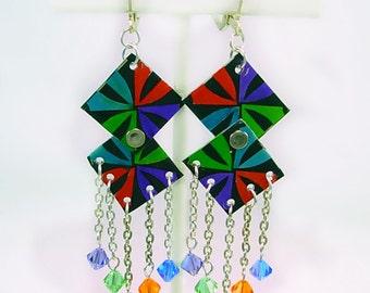 Bright, Colorful, Neon Aluminum & Swarovski Dangle Earrings, Unique Artisan Design, gift for her, back to school, bright, fun, bold earrings